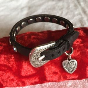 45f861313 Leather bracelet with cute buckle & stones.